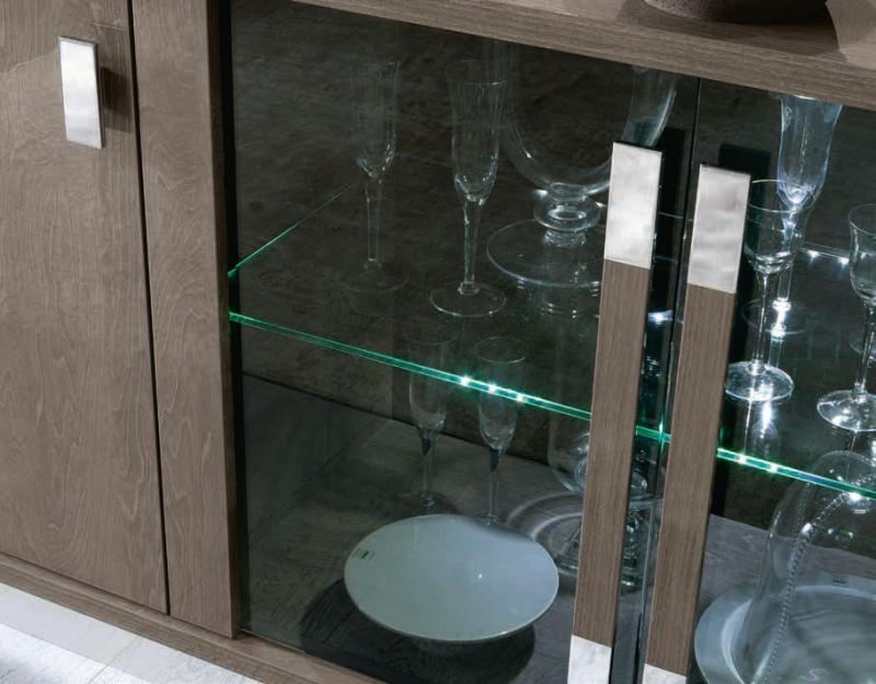 Camel Platinum Slim Italian Buffet Vitrine with Glass Door