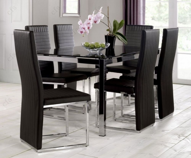 Julian Bowen Tempo Black Faux Leather Dining Chair (Pair)