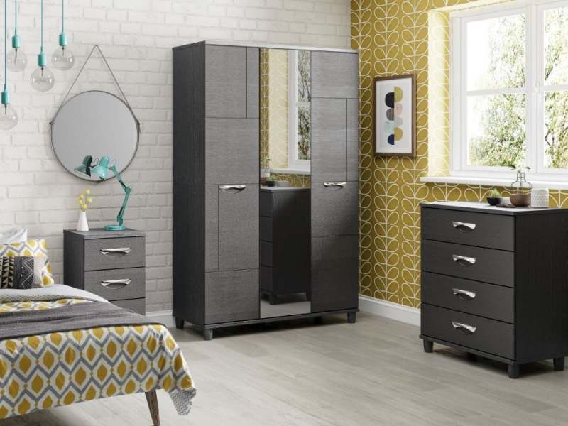 KT Furniture Berkeley Graphite Wardrobe - 3 Door
