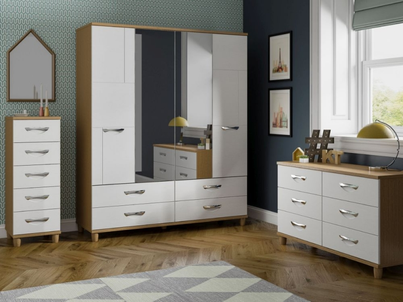 Berkeley White Centre Mirrored Wardrobe - 4 Door