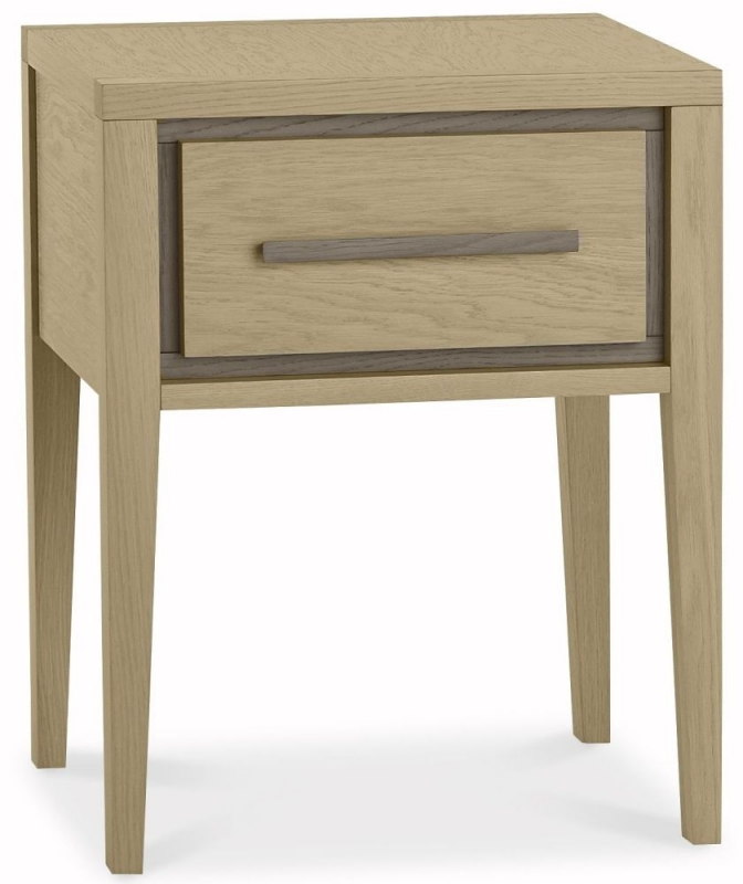 Bentley Designs Rimini Aged and Weathered Oak Bedside Table - 1 Drawer
