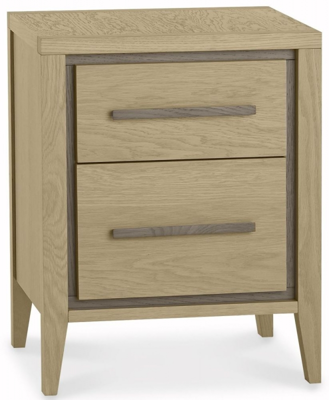 Bentley Designs Rimini Aged and Weathered Oak Bedside Cabinet - 2 Drawer