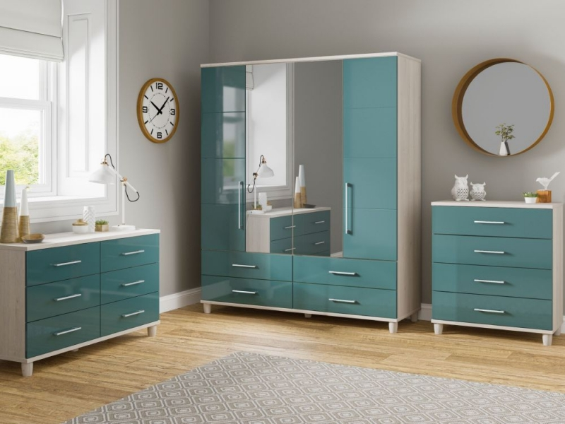 KT Furniture Corsica Lagoon Centre Mirrored Wardrobe - 3 Door