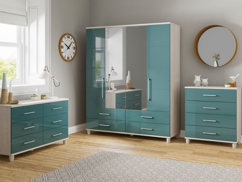 Corsica Lagoon Centre Mirrored Gents Wardrobe - 4 Door 4 Drawer