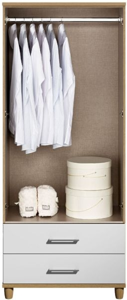 Corsica White Gents Wardrobe - 2 Door 2 Drawer