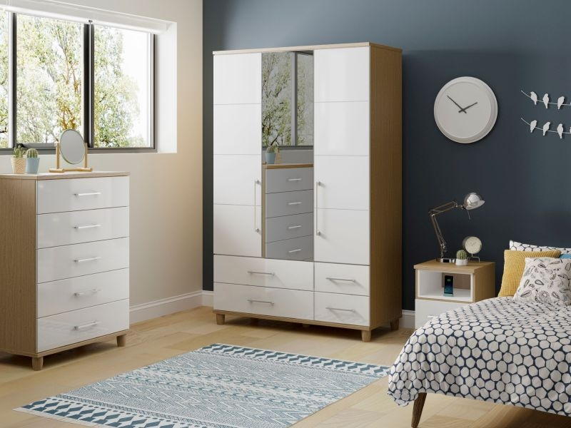 Corsica White Centre Mirrored Gents Wardrobe - 3 Door 4 Drawer