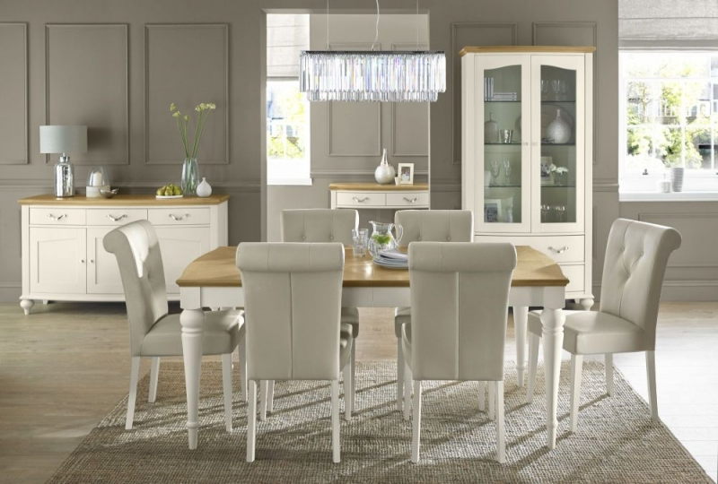 Bentley Designs Montreux Pale Oak and Antique White Dining Table - 6-8 Extending