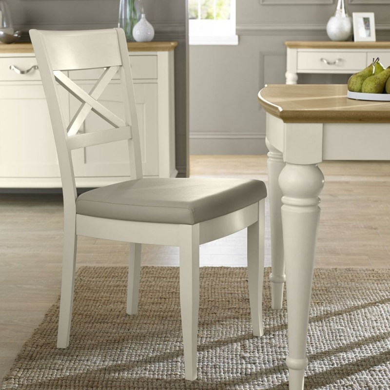 Bentley Designs Montreux Antique White Dining Chair - X Back with Ivory Bonded Leather Seat (Pair)