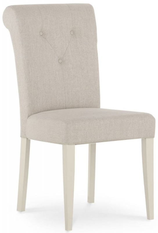 Bentley Designs Montreux Antique White Dining Chair - Upholstered Fabric (Pair)