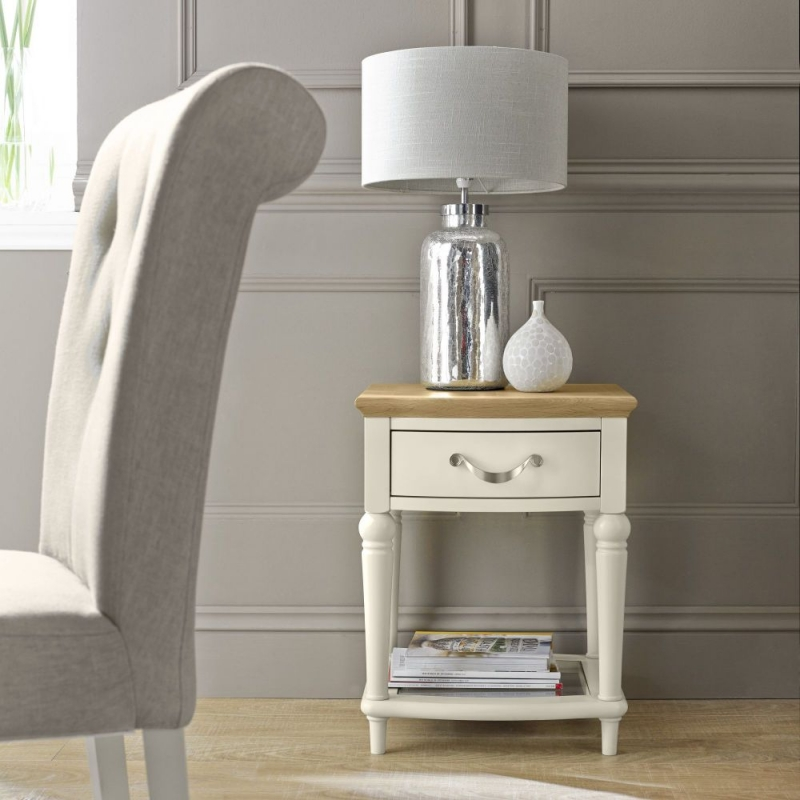 Bentley Designs Montreux Pale Oak and Antique White Lamp Table