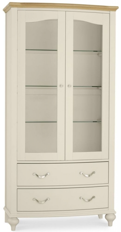 Bentley Designs Montreux Pale Oak and Antique White Display Cabinet