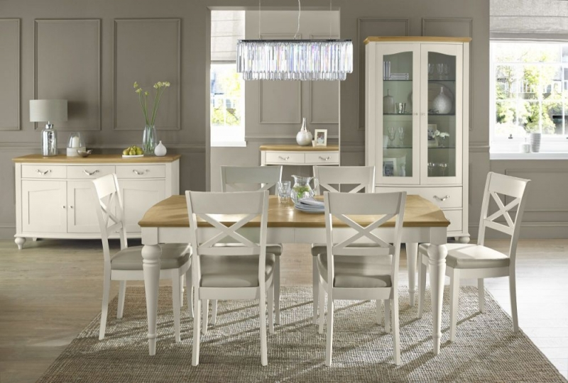Bentley Designs Montreux Pale Oak and Antique White Dining Set - 140cm Extending Table with X Back Chairs