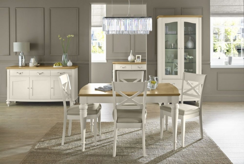 Bentley Designs Montreux Pale Oak and Antique White Dining Set - 180cm Extending Table with X Back Chairs