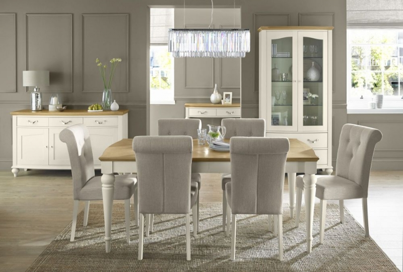 Bentley Designs Montreux Pale Oak and Antique White Dining Set - 140cm Extending Table with Upholstered Fabric Chairs