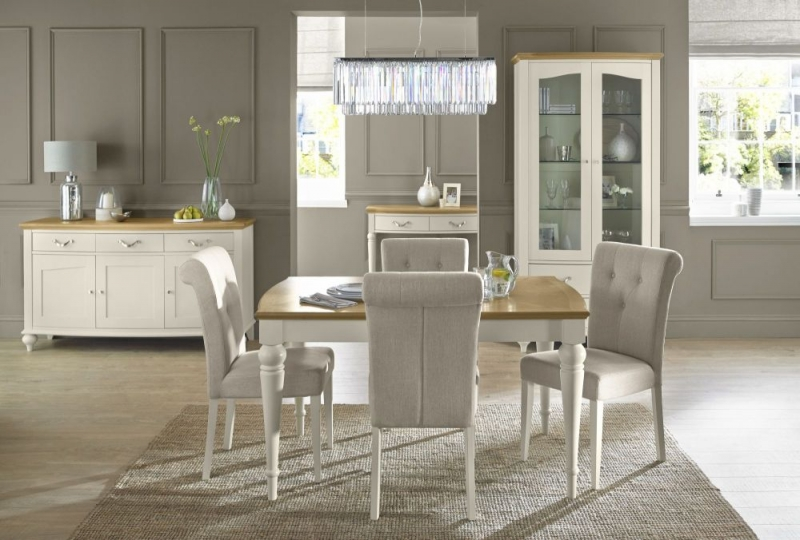 Bentley Designs Montreux Pale Oak and Antique White Dining Set - 180cm Extending Table with Upholstered Fabric Chairs