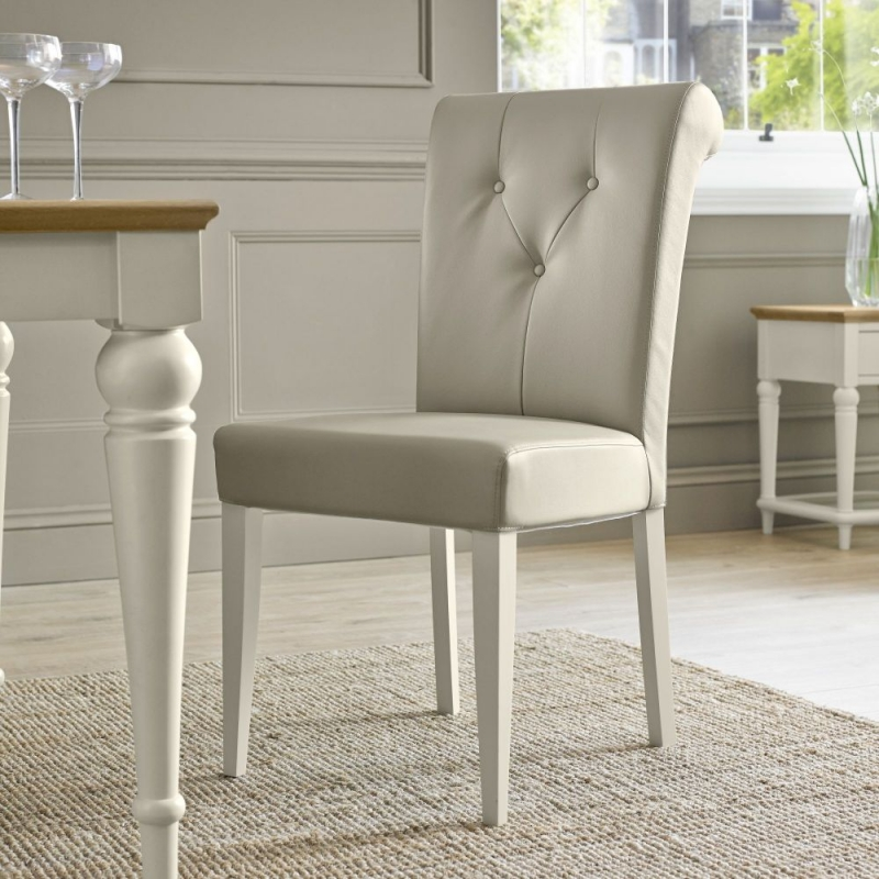 Bentley Designs Montreux Pale Oak and Antique White Dining Set - 180cm Extending Table with Upholstered Bonded Leather Chairs
