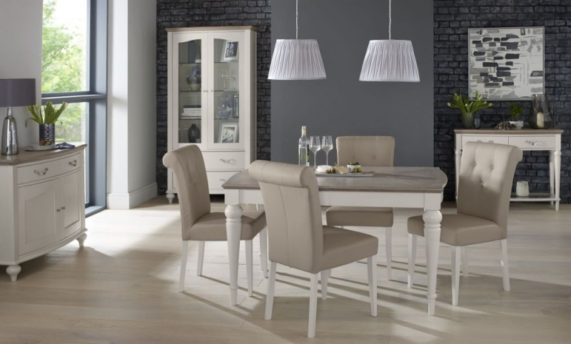 Bentley Designs Montreux Grey Washed Oak and Soft Grey Dining Table - 4-6 Extending