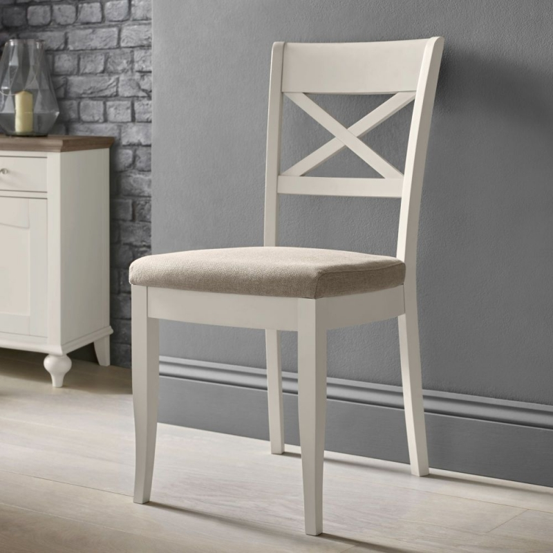 Bentley Designs Montreux Soft Grey Dining Chair - X Back with Pebble Grey Fabric Seat (Pair)