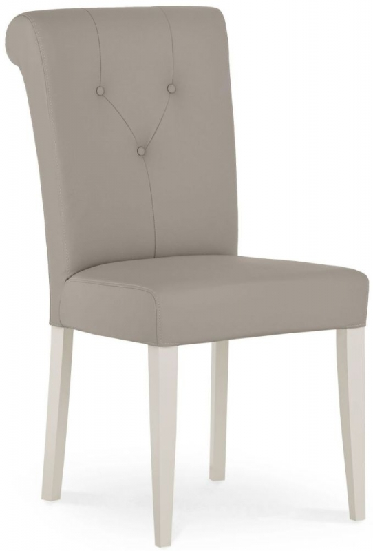 Bentley Designs Montreux Soft Grey Dining Chair - Upholstered Bonded Leather (Pair)