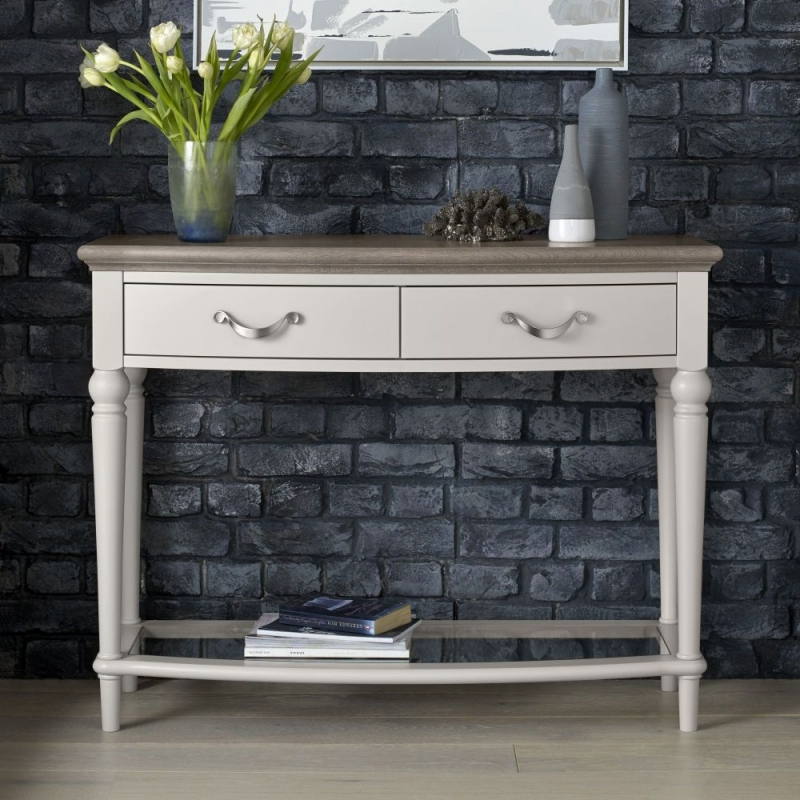 Bentley Designs Montreux Grey Washed Oak and Soft Grey Console Table