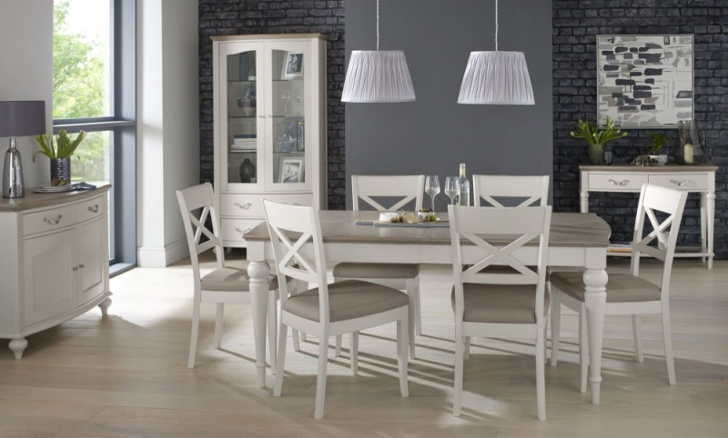 Bentley Designs Montreux Grey Washed Oak and Soft Grey Dining Set - 140cm Extending Table with X Back Chairs
