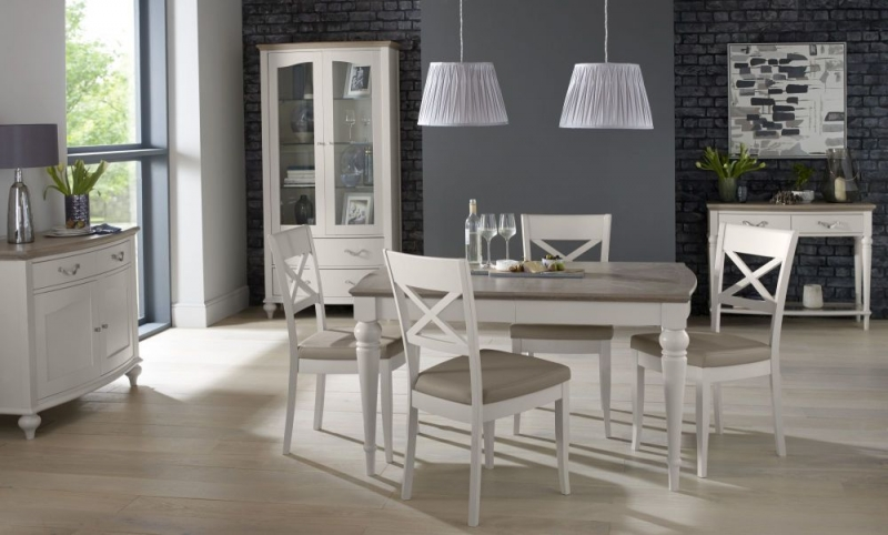Bentley Designs Montreux Grey Washed Oak and Soft Grey Dining Set - 180cm Extending Table with X Back Chairs