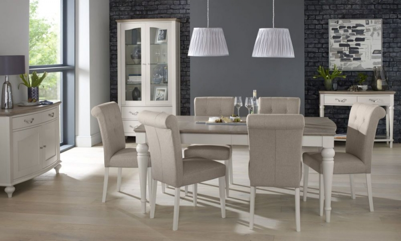 Bentley Designs Montreux Grey Washed Oak and Soft Grey Dining Set - 140cm Extending Table with Upholstered Fabric Chairs
