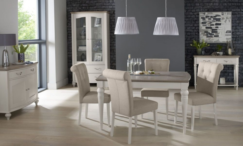 Bentley Designs Montreux Grey Washed Oak and Soft Grey Dining Set - 180cm Extending Table with Upholstered Fabric Chairs