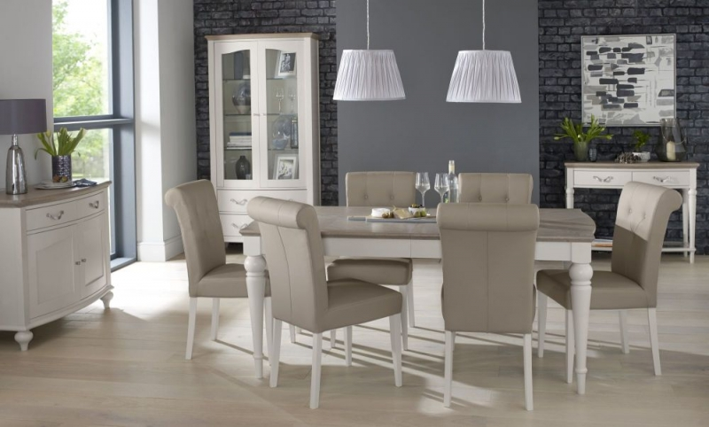 Bentley Designs Montreux Grey Washed Oak and Soft Grey Dining Set - 140cm Extending Table with Upholstered Bonded Leather Chairs
