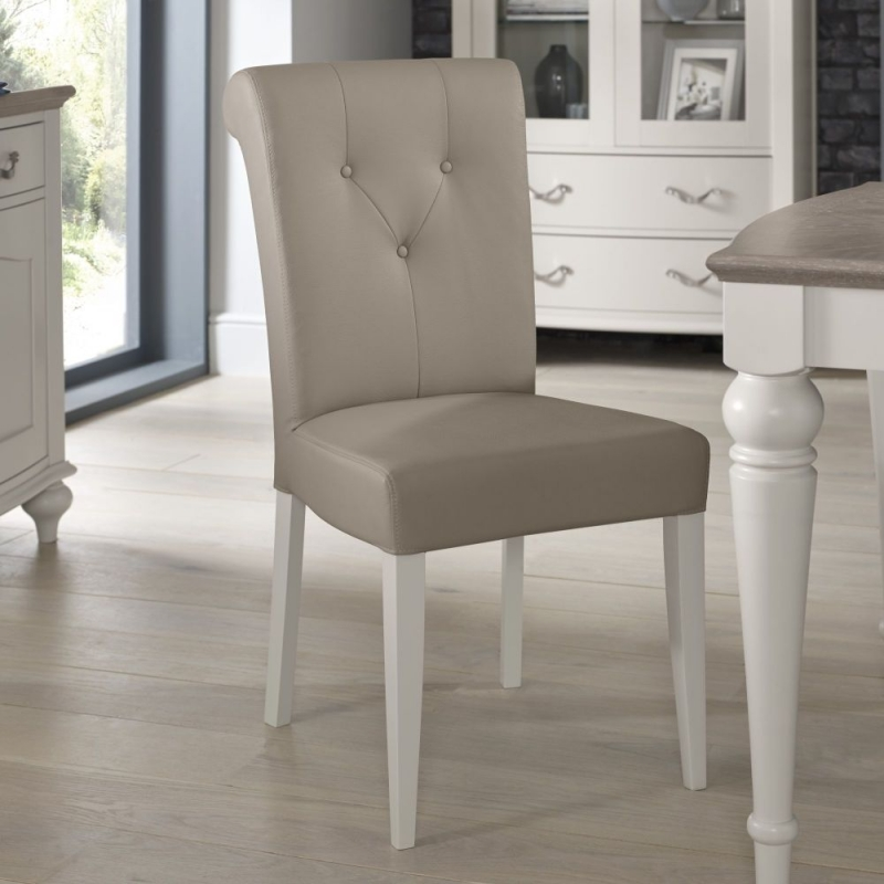 Bentley Designs Montreux Grey Washed Oak and Soft Grey Dining Set - 180cm Extending Table with Upholstered Bonded Leather Chairs