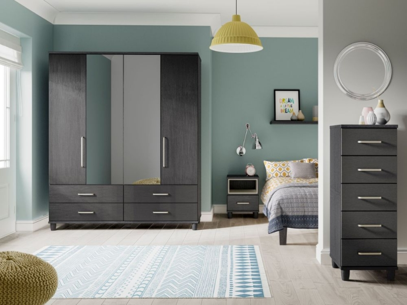 Regency Graphite Centre Mirrored Wardrobe - 4 Door