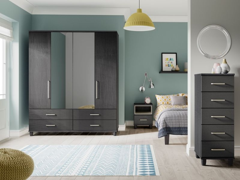 Regency Graphite Centre Mirrored Gents Wardrobe - 4 Door 4 Drawer