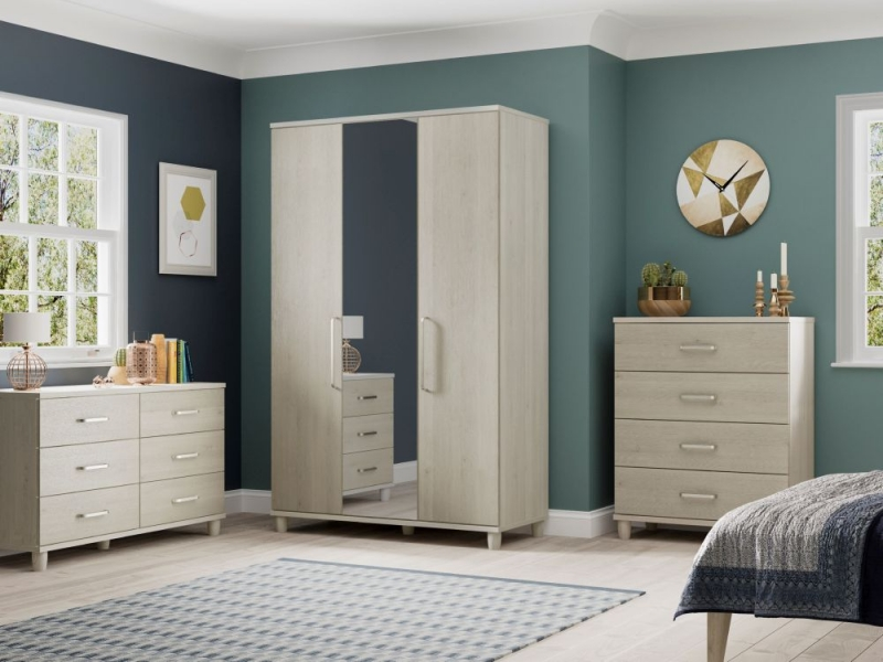 Regency Pine Cappucino Centre Mirrored Wardrobe - 4 Door