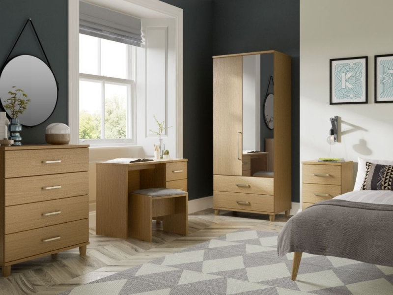 KT Furniture Regency Oak Centre Mirrored Wardrobe - 3 Door