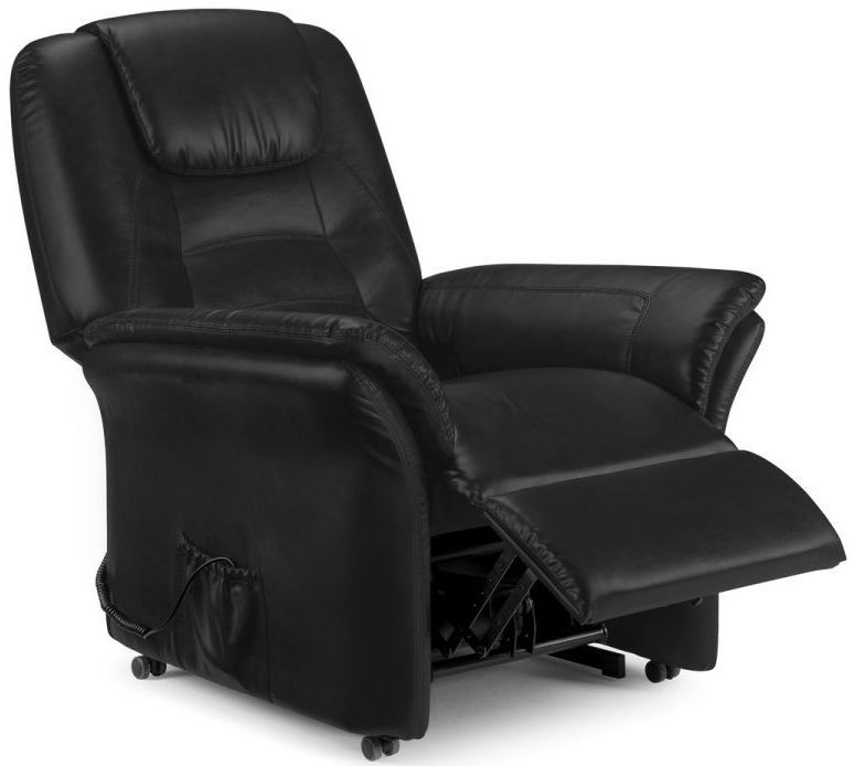 Julian Bowen Riva Black Faux Leather Rise and Recliner Chair