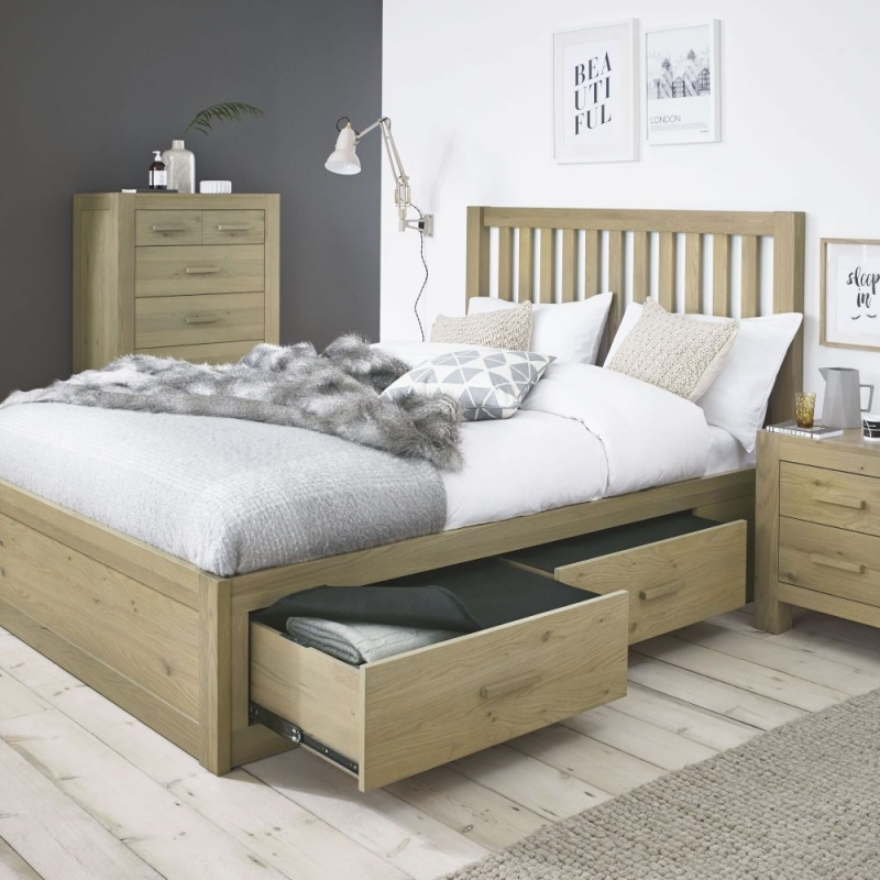 Bentley Designs Turin Aged Oak Storage Bedstead