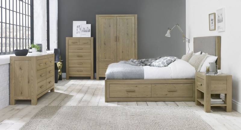 Bentley Designs Turin Aged Oak Headboard - Upholstered