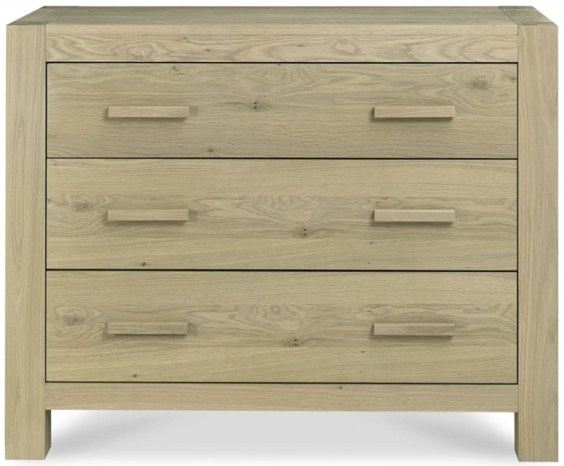 Bentley Designs Turin Aged Oak Chest of Drawer - 3 Drawer Wide