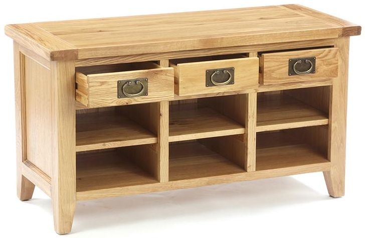 Vancouver Petite Oak 3 Drawer Shoe Organiser for Bigger Shoes
