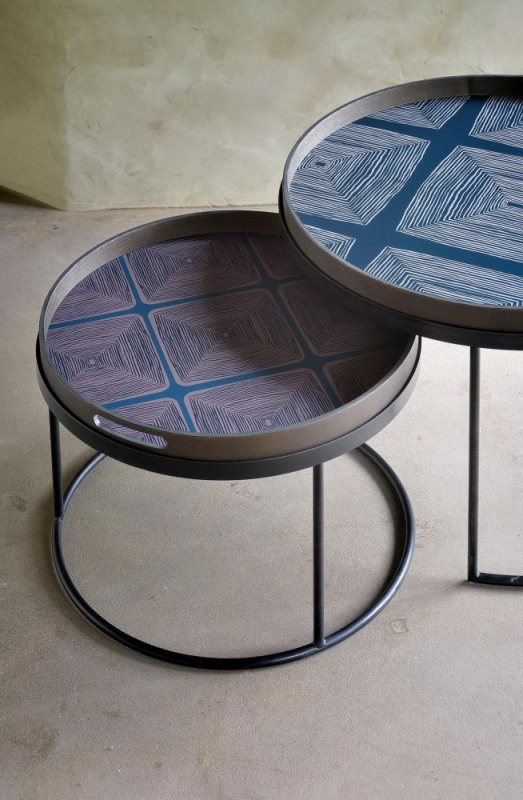Notre Monde Low Round Tray Table Set