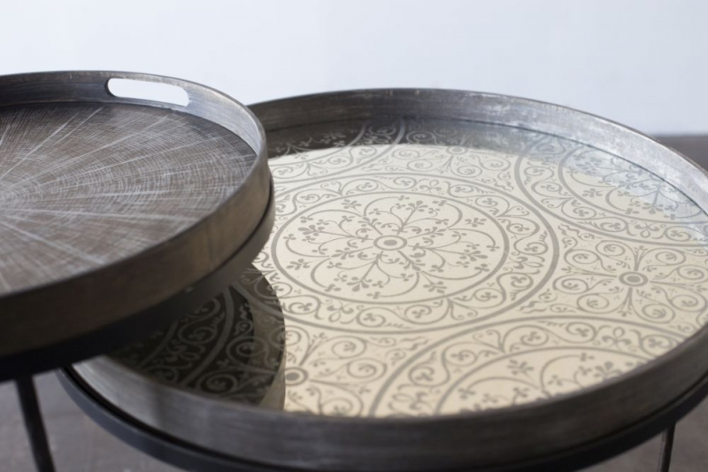 Notre Monde Moroccan Frost Large Round Light Aged Mirror Tray