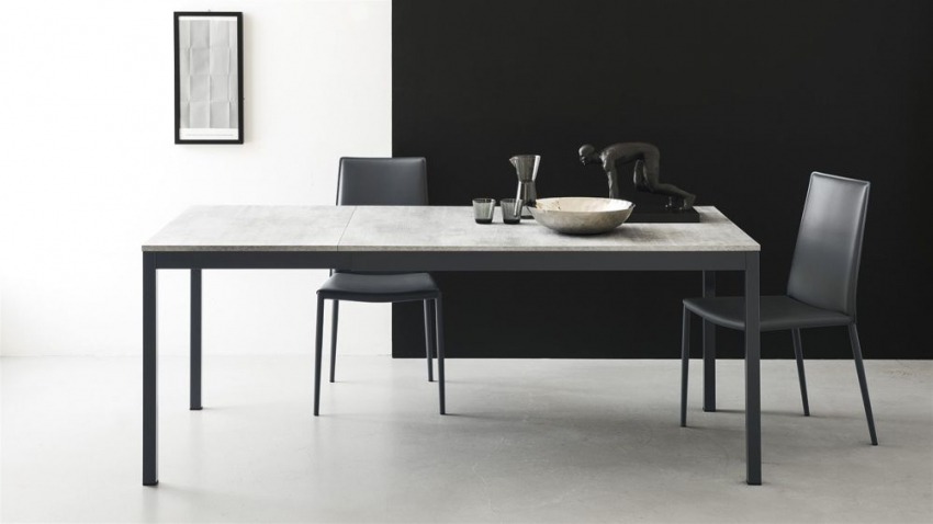 Connubia Snap Glass and Metal Rectangular Extending Dining Table - 110cm-160cm