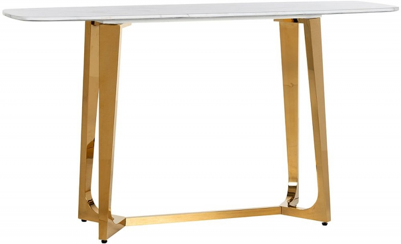 Dynasty White Marble and Gold Metal Console Table