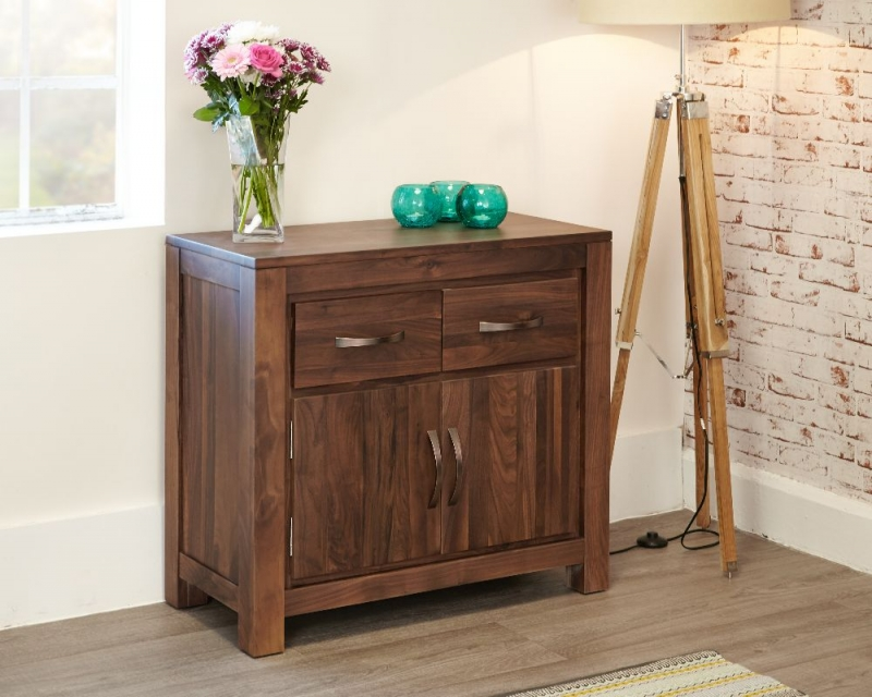 Baumhaus Mayan Walnut Sideboard - Small Narrow 2 Door