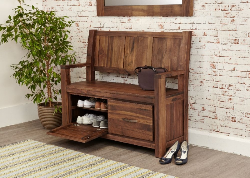 Baumhaus Mayan Walnut Monks Bench with Shoe Storage