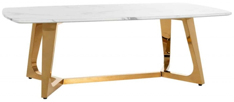 Dynasty White Faux Marble Coffee Table