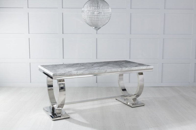 Urban Deco Glacier 200cm Grey Marble and Chrome Dining Table