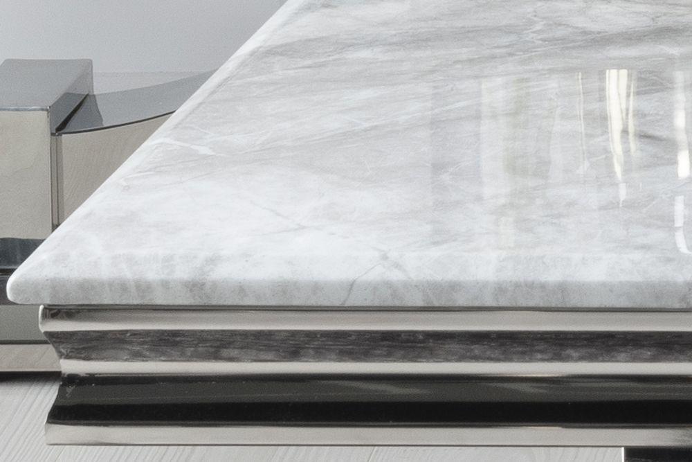 Urban Deco Glacier Grey Marble and Chrome Coffee Table