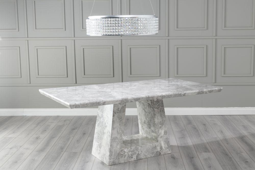 Urban Deco Milan 200cm Grey Marble Dining Table