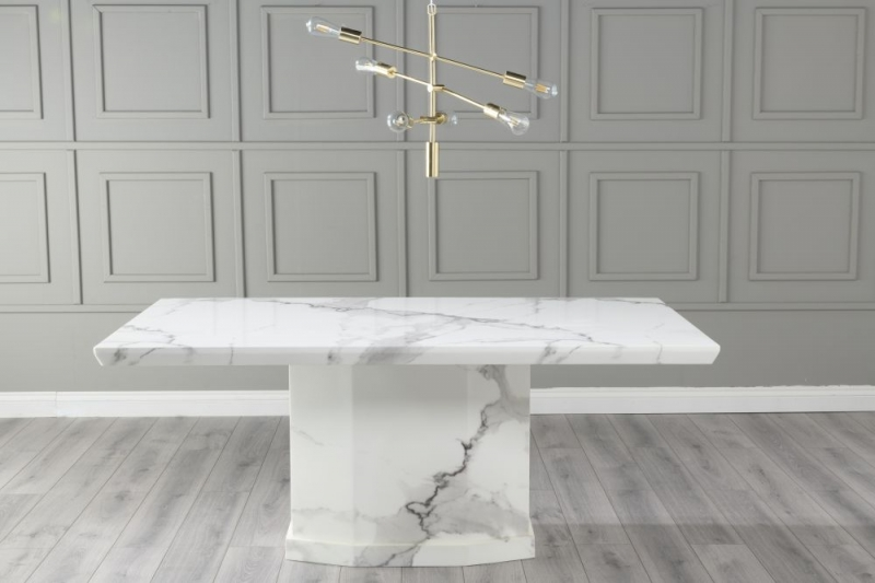 Urban Deco Naples 160cm White Marble Dining Table